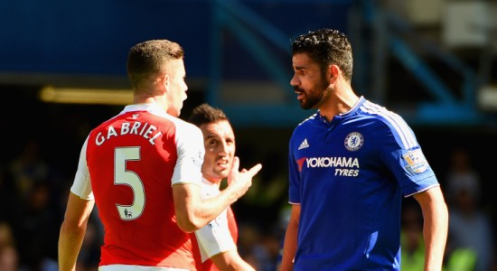 LONDON, ENGLAND - SEPTEMBER 19:  Gabriel of Arsenal and Diego Costa of Chelsea argue during the Barclays Premier League match between Chelsea and Arsenal at Stamford Bridge on September 19, 2015 in London, United Kingdom.  (Photo by Ross Kinnaird/Getty Images)