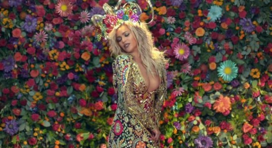Beyonce, goddess of the flowers. (Photo: YouTube)
